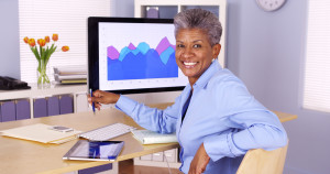 Older woman computer graph